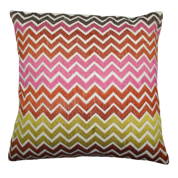Zig Zag Multi Feather Filled 20-inch Throw Pillow