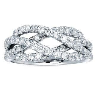 Boston Bay Diamonds 14kt White Gold and 1 1/2ct TDW Diamond Fashion Weave Ring (I-J, I1-I2)