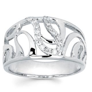 Boston Bay Diamonds 14k White Gold 1/6ct TDW Diamond Swirl Fashion Ring (I-J, I1-I2)