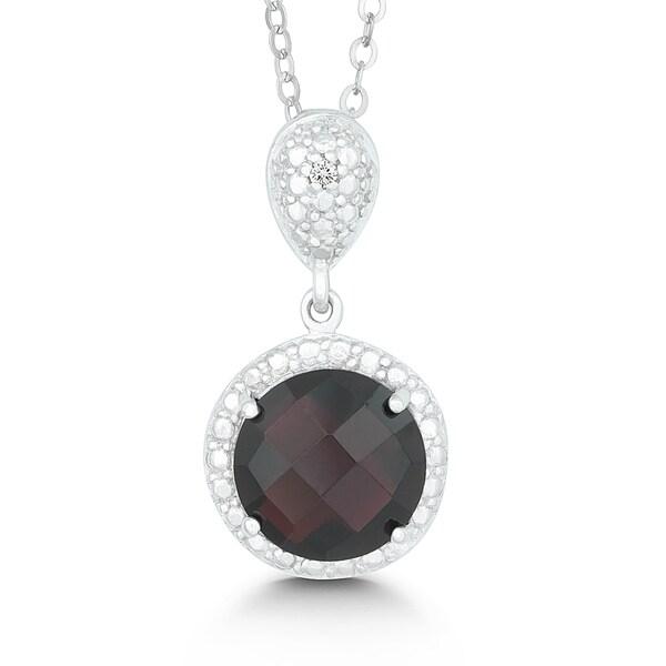 La Preciosa Sterling Silver Faceted Garnet and Diamond Circle Pendant