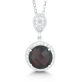 La Preciosa Sterling Silver Faceted Garnet and Diamond Circle Pendant