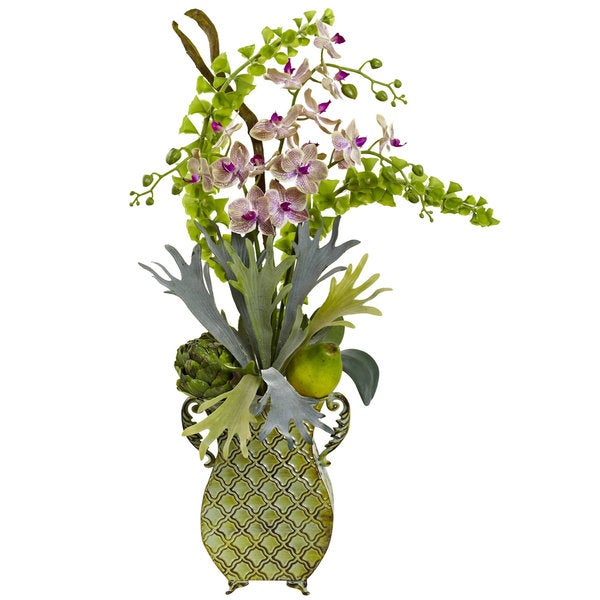 Orchid and Bells of Ireland in Metal Vase