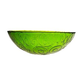 French Home 12-inch Willow Green Glass Serving Bowl