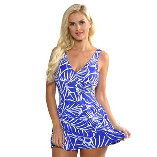 Maxine of Hollywood Women's Periwinkle Empire Swim Dress