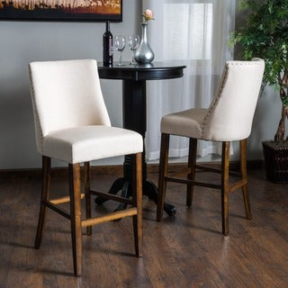 Christopher Knight Home Harman Fabric Barstool (Set of 2)