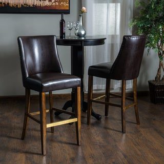 Christopher Knight Home Harman Bonded Leather Barstool (Set of 2)