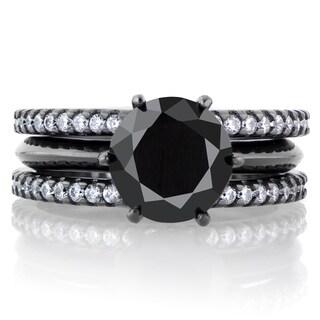 Black Cubic Zirconia Triple Row Wedding Ring Set