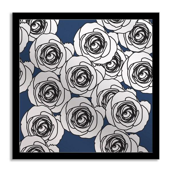 Royal Blue Roses Mirror Art