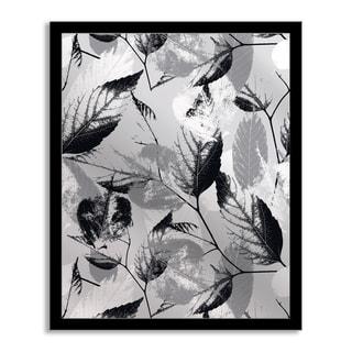 Gallery Direct Grey Leaves Mirror Art