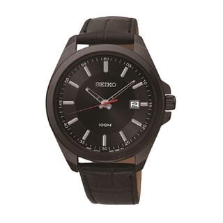 Seiko Men's Stainless Steel and Black Leather Watch