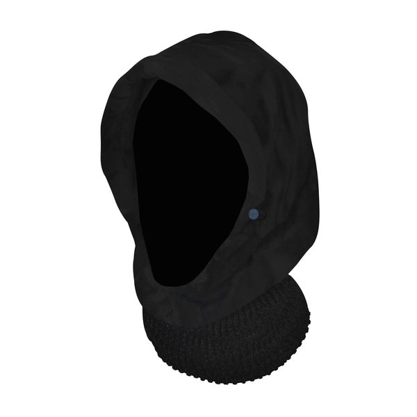QuietWear Black Hood with Knit Neckup
