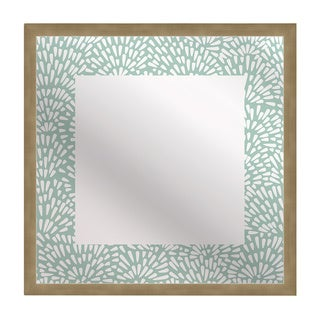 Kusuriuri 'Floral Teal' Squre Mirror Art