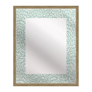 Kusuriuri 'Floral Teal' Rectangle Mirror Art