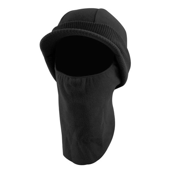 QuietWear Knit Fleece Visor Cap with Drop Down Fleece Mask