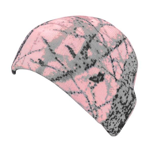 QuietWear Pink Digital Knit Camo Beanie