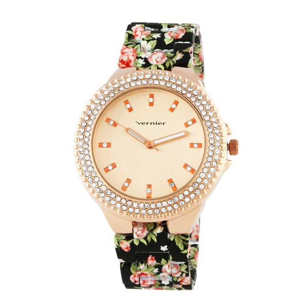 Vernier Women's Rose Goldtoned Soft Touch Floral Bracelet Stone Bezel Watch