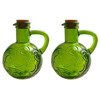 French Home 14-ounce Willow Green Recycled Glass Oil and Vinegar Cruet (Set of 2)