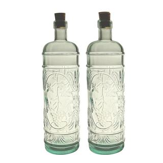 French Home 34-ounce Ice Clear Recycled Glass French Bottle with Cork (Set of 2)
