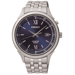 Seiko Men's Stainless Steel Blue Dial Kenitic Watch