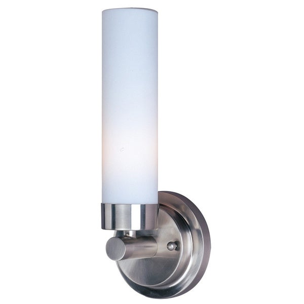 Alumilux E53006-11 White Cylinder Shade Silver Aluminum Wall Sconce