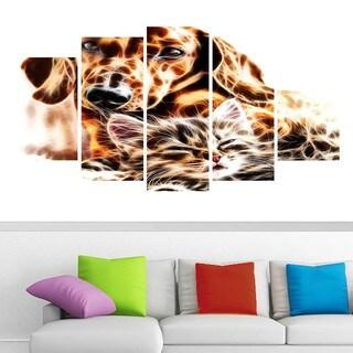 Design Art 'Best Buddies' Cat & Dog Canvas Art