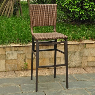 International Caravan Barcelona Resin Wicker Outdoor Bar Height Chairs with Aluminum Frame (Set of 2)