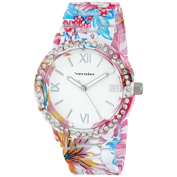 Vernier Women's Soft Touch Red/ Blue All Over Floral Pattern Stone Bezel Watch