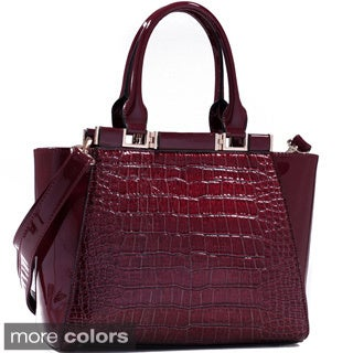 Dasein Faux Croc/ Patent Winged Satchel