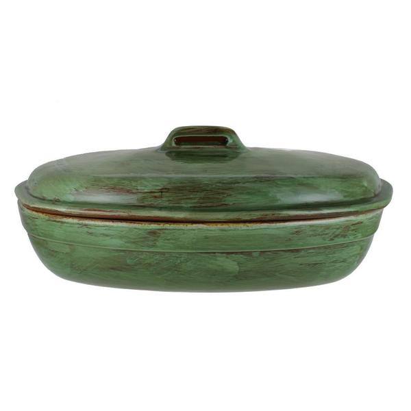 French Home 3.25 Qt Cilantro Green Stoneware Roaster with Lid