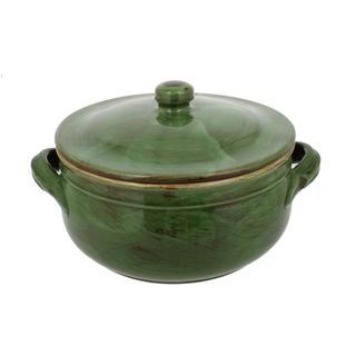 French Home Cilantro Italian Stoneware Two Handle Lidded Pot