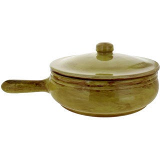 French Home Saffron Italian Stoneware Frying Pan with Lid