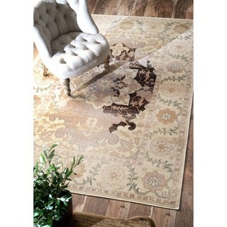 nuLOOM Oriental Vintage Viscose Modern Fancy Brown Rug (7'8 x 9'6)