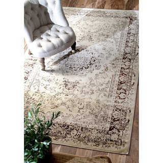 nuLOOM Oriental Vintage Viscose Traditional Brown Rug (5'2 x 8')