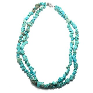 Sterling Silver Multi Turquoise Chip Double Strand Necklace