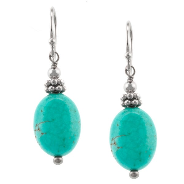 Sterling Silver Detailed Beaded Turquoise Oval Drop Earring 14449062