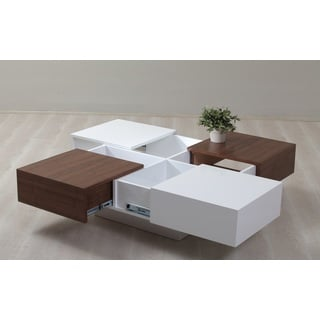 Milano White and Walnut 4-drawer Coffee Table