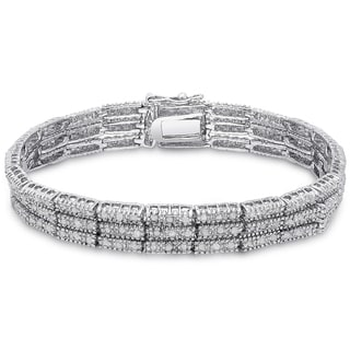 Finesque Silver Overlay 2ct TDW Diamond Three Row Bracelet (I-J, I2-I3)