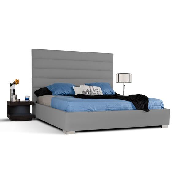 Modrest Kasia Grey Leatherette Platform Bed  Overstock Com