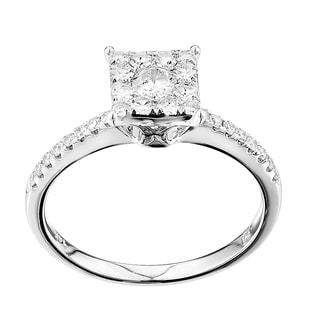 14k White Gold 1/2ct TDW Diamond Square Top Engagement Ring (G-H, SI1-SI2)