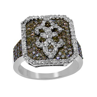 Sterling Silver 1 1/4ct TDW Pave Brown Diamond Square Ring (H-I, I2-I3)