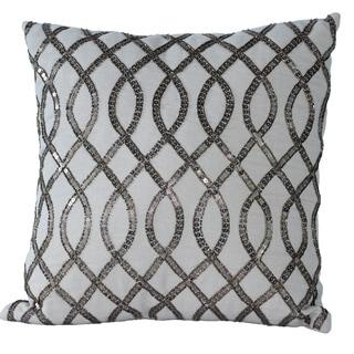 Auburn Textiles Sequin Embroidered Cotton Square Decorative Pillow
