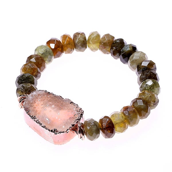 Quartz Druzy and Green Garnet Beaded Stretch Bracelet 14449307