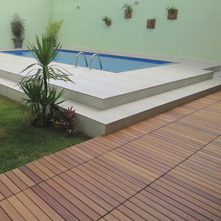 FlexDeck Brazilian Cumaru Style Champagne Interlocking Deck Tiles