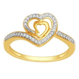 De Couer 10k White Gold 1/8ct TDW Diamond Two-tone Connecting Heart Ring (H-I, I2)