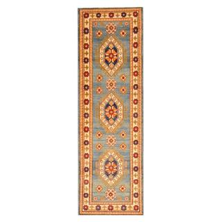 Herat Oriental Afghan Hand-knotted Tribal Kazak Blue/ Ivory Wool Rug (2'1 x 6'8)