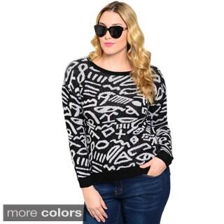 Stanzino Women's Plus Size Printed Long Sleeve Sweater