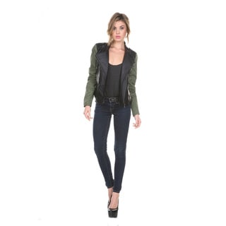 Stanzino Women's Black and Green Leatherette Long Sleeve Jacket
