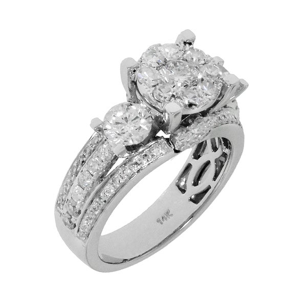 14k White Gold 2 1/4ct TDW Round 3-stone Diamond Ring (G-H, SI1-SI2)