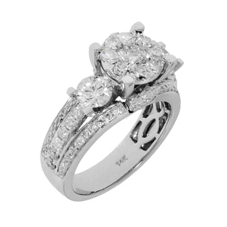 14k White Gold 2 1/4ct TDW Round 3-stone Diamond Ring (G-H, SI1-SI2)