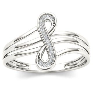 De Couer 10k White Gold 1/20ct TDW Diamond Infinity Knot Fashion Ring (H-I, I2)
